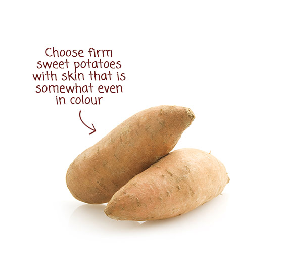 Choose firm sweet potatoes with skin that is somewhat even in colour